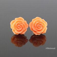 Damen Orange  Harz Blumen Ohrring/ Ohrstecker 14,5mm Edelstahl  Modeschmuck
