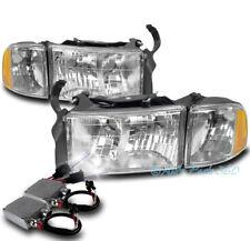 99-01 DODGE RAM 1500 SPORT CHROME HEADLIGHT W/CORNER TURN SIGNAL LAMP+50W 6K HID