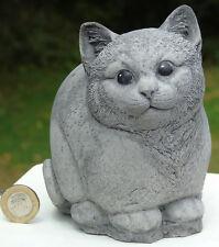 Contented Cat Stone Garden Ornament Hand Cast by Bekki 12x9x13 Cms 1288 Grams