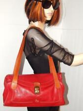 PETUSCO Spain Red w Tan Pebbled Leather Satchel Shoulder DoubleStrap Barrel Bag