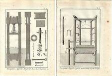 Stampa antica LAVORAZIONE LANA 2 FOGLI Enciclopedia Diderot 1786 Old print