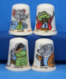 Birchcroft China Thimbles -- Set of Four Large Size -- Wind in the Willows
