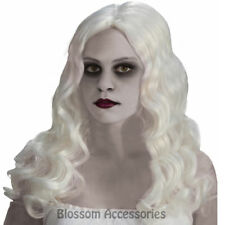 W434 Spirited Ghost Haunted Zombie White Long Corpse Bride Halloween Costume Wig