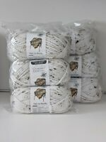 NEW Lot 6 Skeins- Loops & Threads Charisma White Tweed Chunky Bulky Yarn