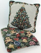 Holiday Gift Set 2 Piece Christmas Tree Teddy Bear Print Throw Blanket Pillow