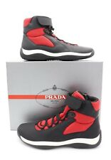 Prada Black Red Punta Ala America's Cup Ankle Strap High-Top Sneakers Shoes 8
