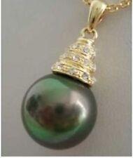 pendentif ,14mm nacre perle noir, avec la chaîne gratuite