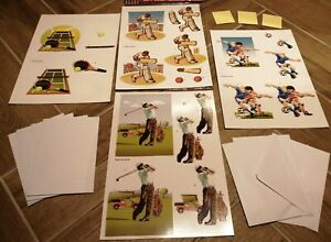 PAPER CELLAR Sport Themed Decoupage Card Kit includes everything to make 4 Cards