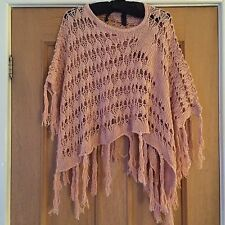 PER UNA LADIES APRICOT/PEACH LACY KNITTED PONCHO