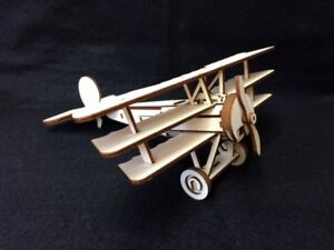 Laser Cut Wooden Fokker Triplane 3D Model/Puzzle Kit