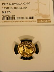1992 Bermuda $10 Gold (British Royal Mint) NGC MS70 Superb coin PQ #RP04