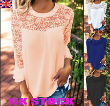 UK Womens 3/4Sleeve Lace Tops Ladies Summer Loose Crew Neck T Shirt Blouses