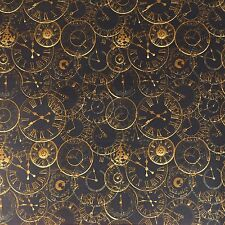 Steam Punk Clocks 100% Cotton Poplin Fabric - Craft Cotton Company - Steampunk