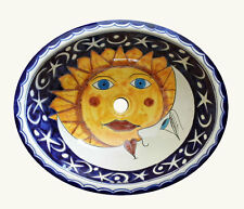 #131 LARGE BATHROOM SINK 21X17 MEXICAN CERAMIC HAND PAINT DROP IN UNDERMOUNT