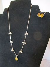 EARRING & NECKLACE SET, STERLING SILVER WITH DRIED FLOWERS, NECKLACE HAS PEARLS