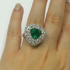 Trillion & Round Cut Classic Green 3.76CT Emerald With 4.88CT Clear CZ Fine Ring