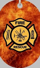 "Firefighter Fire & Rescue Maltese Cross Flames Dog Tag Necklace 30"" Chain New"