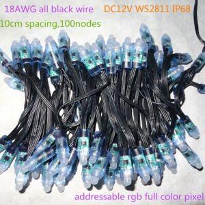 WS2811 Addressable BULLET LED Pixel Diffused 12mm RGB IP68 12V DC 100PCS Ray Wu