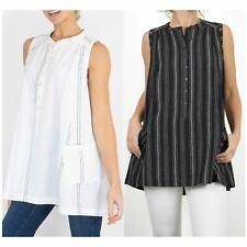Womens Fat Face Tunic Top Black White Longline Amelia Sleeveless Summer Stripe