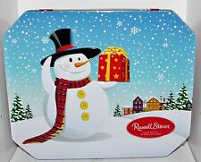 Winter Snowman Gift Ski Village Russell Stover Embossed Empty Tin Box Container