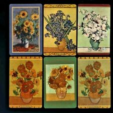 Six Listed Swap Playing Cards LARGE NATIVE FLOWERS IN POTTERY VASES MUTED COLORS