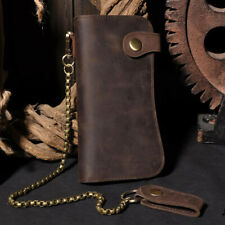 Men's Leather Credit ID Cards Holder Long Chain Wallet Biker Trucker Heavy Thick