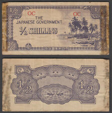 Oceania 1/2 Shilling ND 1942 (F) Condition Banknote Japanese Occ. WWII KM #1