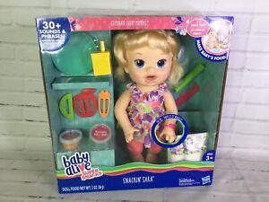 Baby Alive Super Snacks Snackin Sara Doll Blonde Hair Blue Eyes Talks With Food