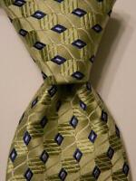IKE BEHAR Men's 100% Silk Necktie Luxury Designer Geometric Green/Blue/White EUC