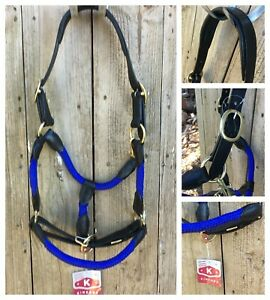 New Kincade leather & rope headstall in blue/black, cob size RRP $59.99