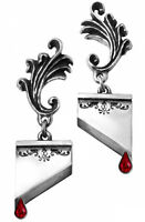Marie Antoinette Ornate Guillotine Earrings Red Blood Drops Alchemy Gothic E310