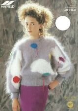 """HA3173 LADIES / GIRLS MOHAIR PICTURE SWEATER KNITTING PATTERN 24-34"""" / 61-86cm"""
