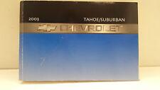 Original 2003 Chevrolet Suburban Tahoe Bedienungsanleitung Boardmappe in English