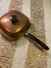 Retro Vintage Old Copper Fry Pan~Square~Brass Accents~Lidded