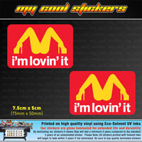 2x I'm Lovin' It 7.5cm Vinyl Sticker Decal, 4X4 Car window funny Im Loving It