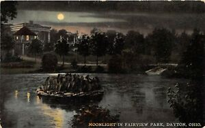 Dayton Ohio c1910 Postcard moonlight in Fairview Park