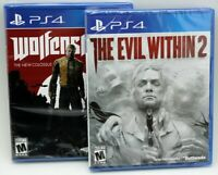 Lot of 2 PS4 Playstation 4 Wolfenstein II New Colossus & Evil Within 2
