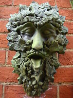 "Green man wall plaque ivy STONE garden ornament ""Westlake"" 41cm/16""H +FREE GIFT!"