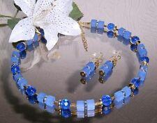 ZAUBERHAFTES SET / Collier + Ohrhänger in BLAU - Gold mit GLAS Perlen