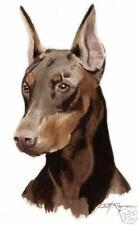 DOBERMAN PINCHER DOG 2 Watercolor 8 x 10 ART Print Signed DJ Rogers