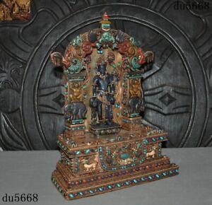 "15""Tibet Buddhism silver Filigree Inlay gem Tara Kwan-yin Shrines Buddha statue"