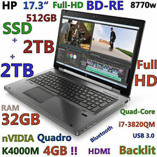 """(3D-Design 17.3"""" FHD) HP 8770W i7-QUAD(BD-RE 512GB-SSD + 2x2TB 32GB) K4000M-4GB"""