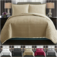 3 Piece Quilted Embossed Bedspread Comforter Throw Double & King Size Coverlet