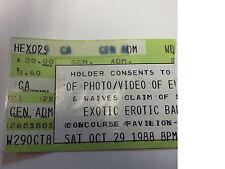 Exotic Erotic ball Ticket Stub 10/28//88