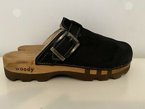 Woody Lukas Wooden Sole Black Leather Clog Mules Size UK 10 EU 44 Handmade VGC