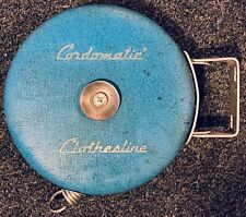Vintage Blue Cordomatic 40 Foot Retractable Clothesline Reel Camping Picnics