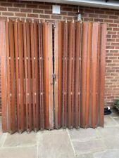 More details for vintage large hardwood french window/door bi-fold shutters with brass handles
