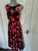 ❤ Vintage LAURA ASHLEY Size 8 Black Red White Floral Long Smart Dress Cotton
