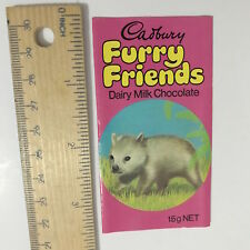 VINTAGE CADBURY FURRY FRIENDS MILK CHOCOLATE BAR WRAPPER 1970S WILLY WOMBAT EXC!