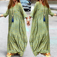 Women Printed Long Sleeve Maxi Dress Ladies Casual Loose Holiday Dress Size 8-26